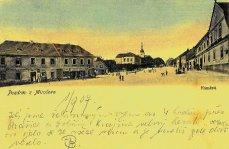 Náměstí v Mirošově na pohlednici z r. 1907