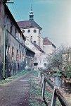 Presbytář kostela Panny Marie Sněžné a původem středověký Mlýnský náhon, 1961