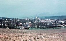Pohled na Rokycany z cesty směřující pod Žďár, 1961