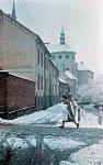 Presbytář kostela Panny Marie Sněžné a původem středověký Mlýnský náhon, 1964